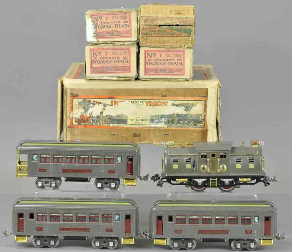 lionel 4 grey 605 606 personenzug mit elektrolokomotive schlafwagen grau spur 0