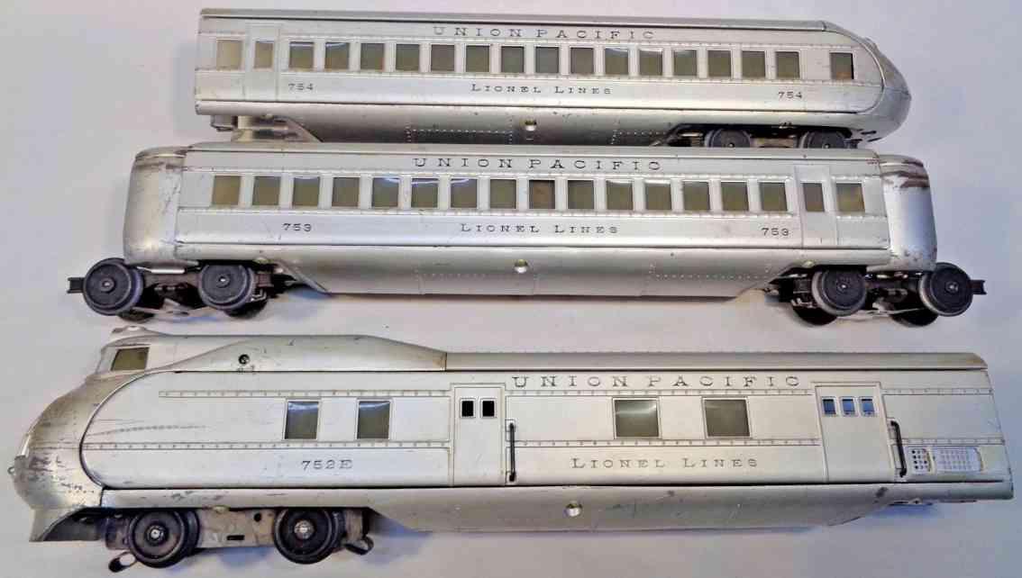 lionel 751e 752e 753 754 passenger train 3 unit steel die-cast union pacifi city portland silver gauge 0