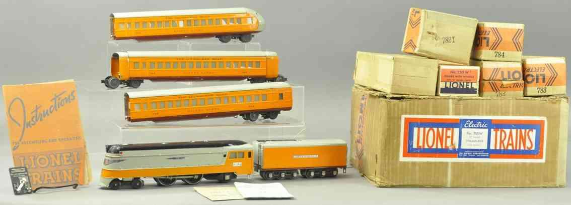 lionel 755w 250e 250w 782 783 784 hiawatha personenzug set orange gauge 0