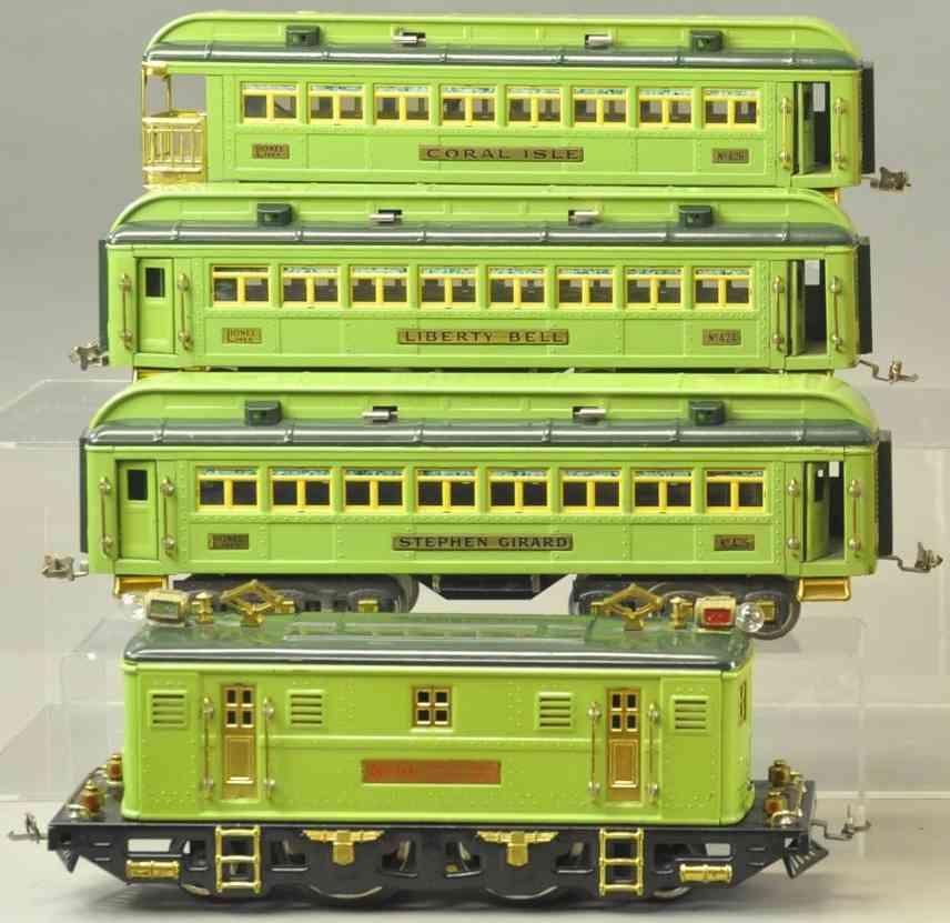 lionel personenzug elektrolokomtoive 9e gruen wagen 424 425 426 standrad gauge