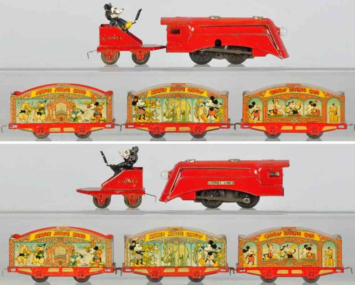 lionel tinplate railway toy mikey mouse circus train set