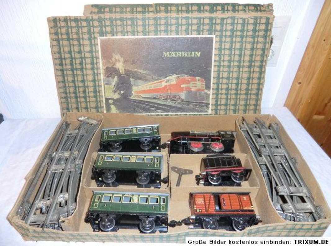 maerklin r 890 eisenbahn zugpackung mit uhrwerk-dampflokomotive