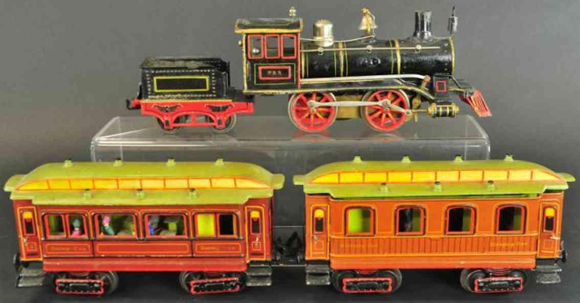 maerklin spielzeug eisenbahn zug uhrwerklokomotive 0-4-0 mit tender, speisewagen und schlafwa