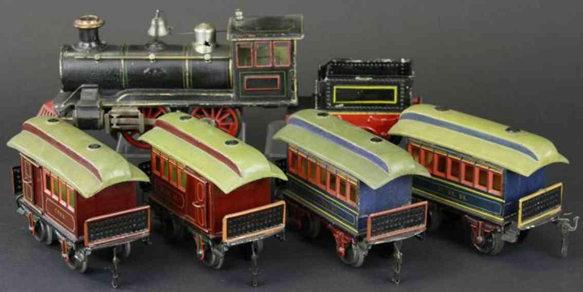 maerklin spielzeug eisenbahn zug uhrwerklokomotive0-4-0 mit tender und vier personenwagen, 2
