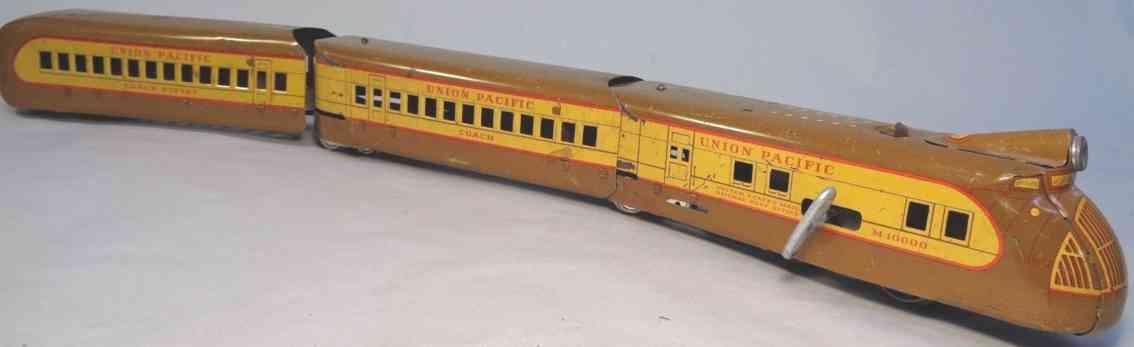 marx louis m-10000 railway toy streamliner set brown yellow gauge 0