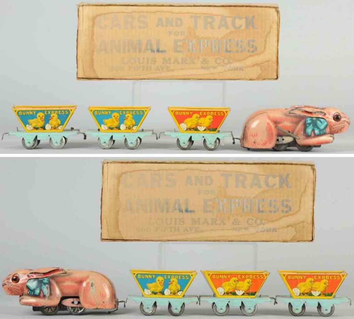 marx louis railway toy tin bunny express wind-up train set