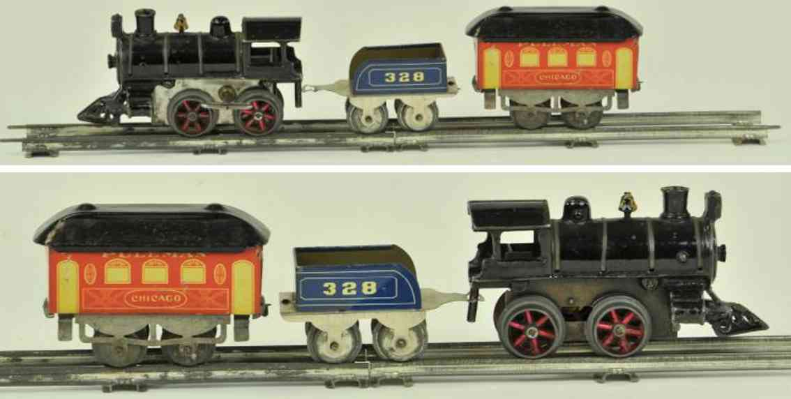 edmonds metzel manufacturing co railway toy passenger train set chicago