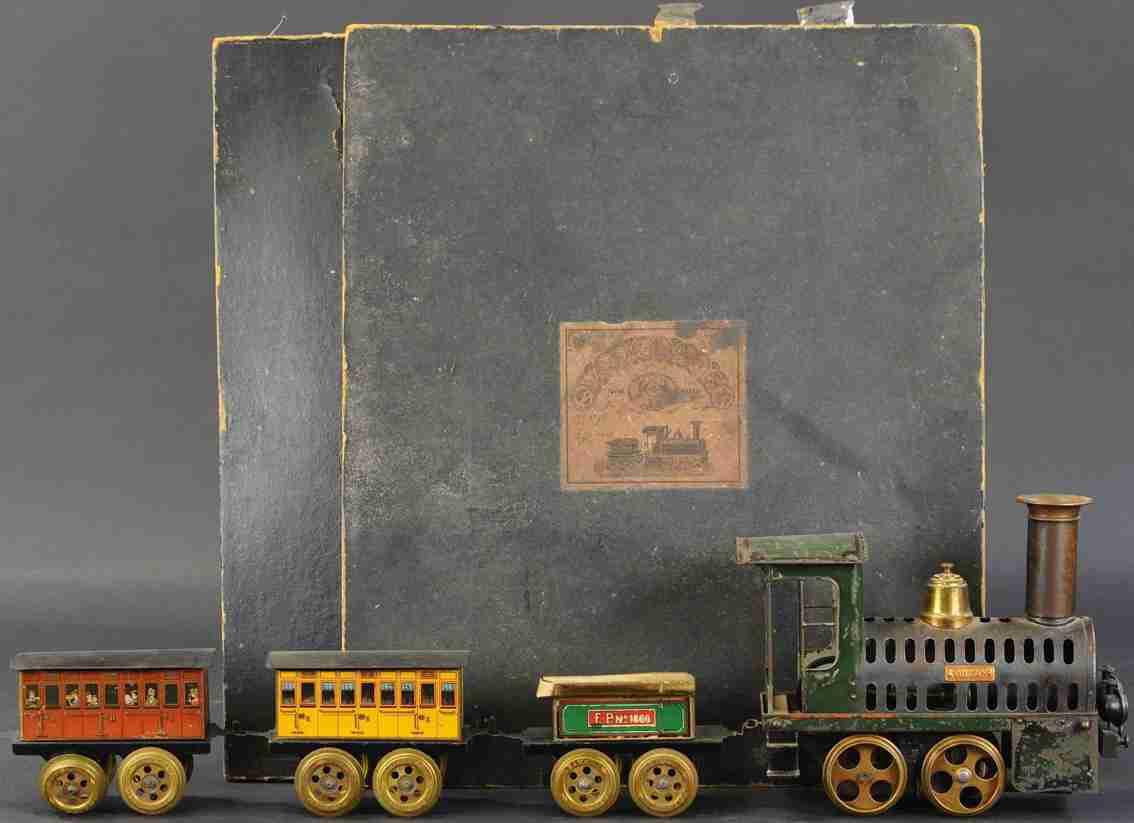 plank ernst spielzeug eisenbahn heißluft-personenzug spur 8 = 65 mm lok tender 2 wagen