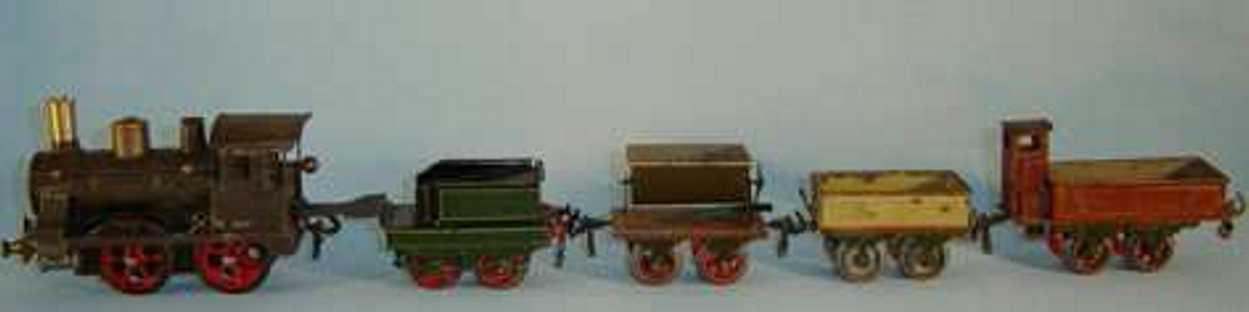 Schoenner Uhrwerk-Lokomotive mit Tender und 3 Güterwagen