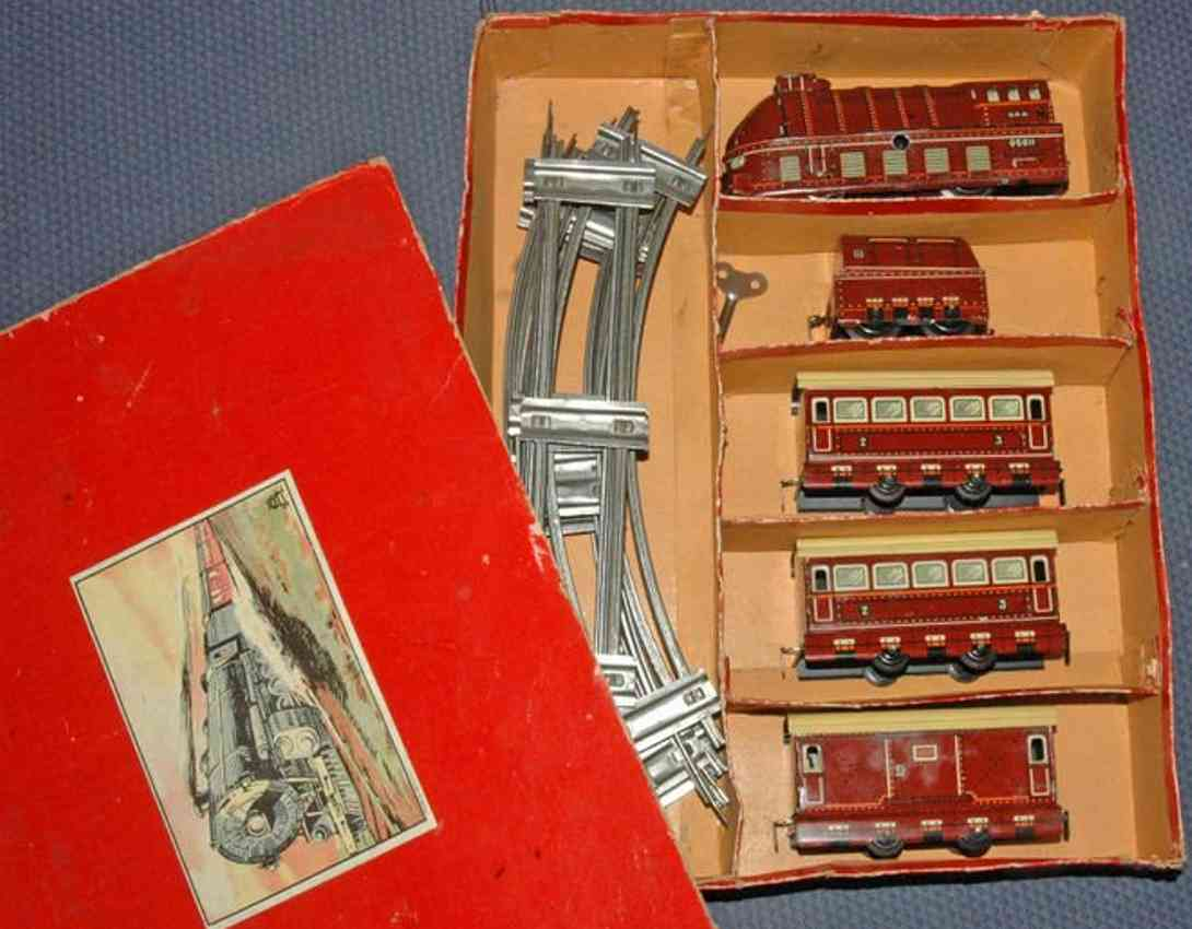 schuhmann,adolf railway toy passenger train lcoo tender 3 cars gauge 0