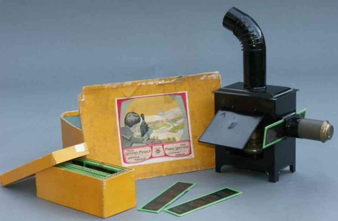bing blech optisches spielzeug laterna magica in schwarz  mit brenner und kamin, 12 bilder
