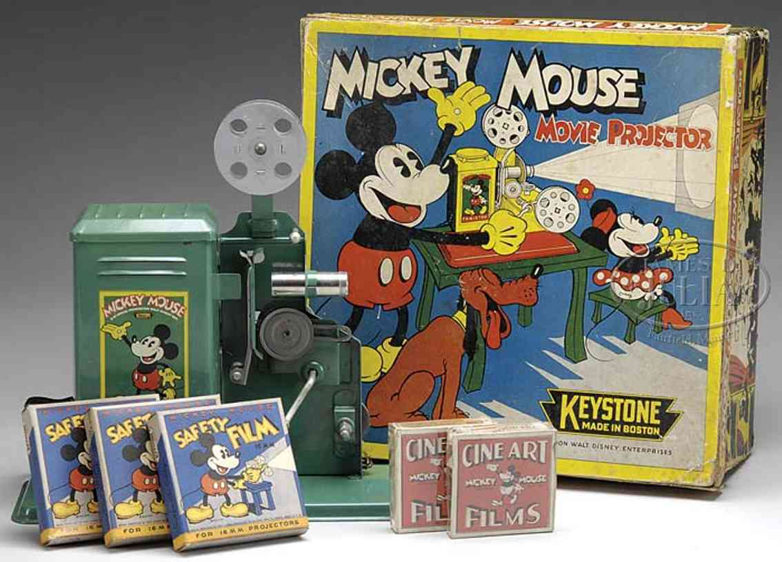 keystone tin optical toy mickey mouse movie projector has great decal of mickey mouse
