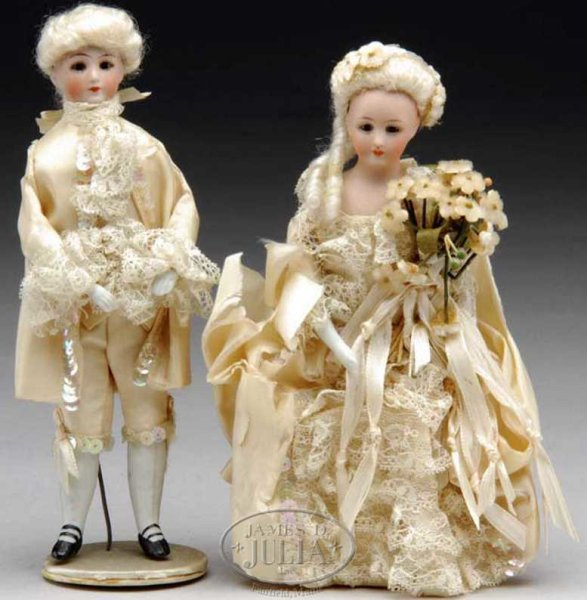 Simon & Halbig Puppen Puppe GEORGE AND MARTHA WASHINGTON. Pair of 7, Glasaugen,