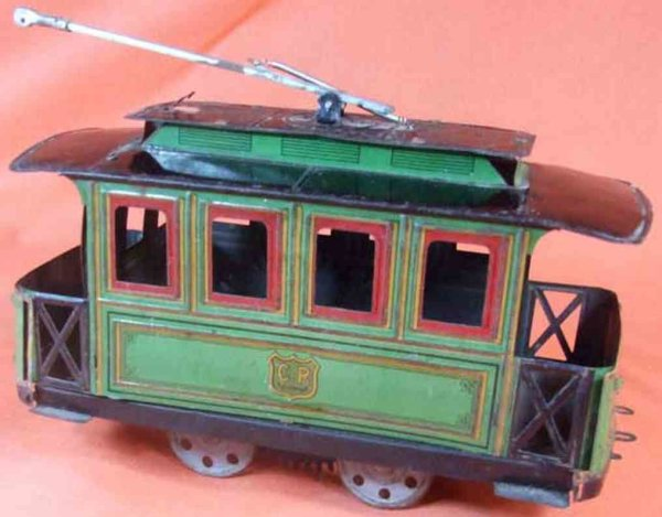 Rossignol Straßenbahnen Early tin lithographed electric street trolley, green body,
