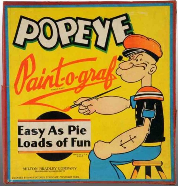 Bradley Milton Spielzeug Popeye als Maler. Copyright 1935  King Features Syndicate un