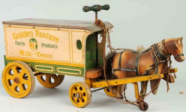 Jacrim Manufacturing Co. Kutschen Bauernwagen mit Pferd, gemarkt Golden Pasture Farm Products