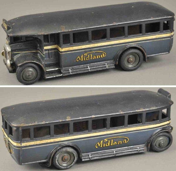 Wallwork Henry and Co. Fahrzeuge-Busse Midland Bus, seltenes gusseisernes Exemplar, bemalt in blau,