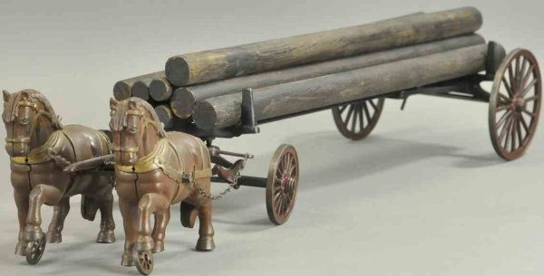 Shimer Toy Co. Kutschen Wagon 2 horses lumber