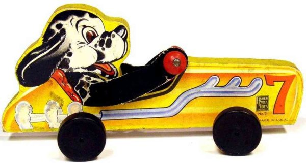 Fisher-Price Figuren Hund mit Rennwagen #7, doggy racer